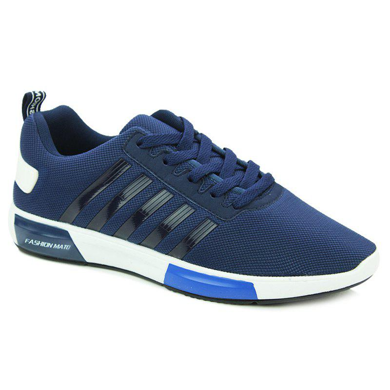 Trendy Tie Up and Stripes Design Men's Athletic Shoes - DEEP BLUE 43