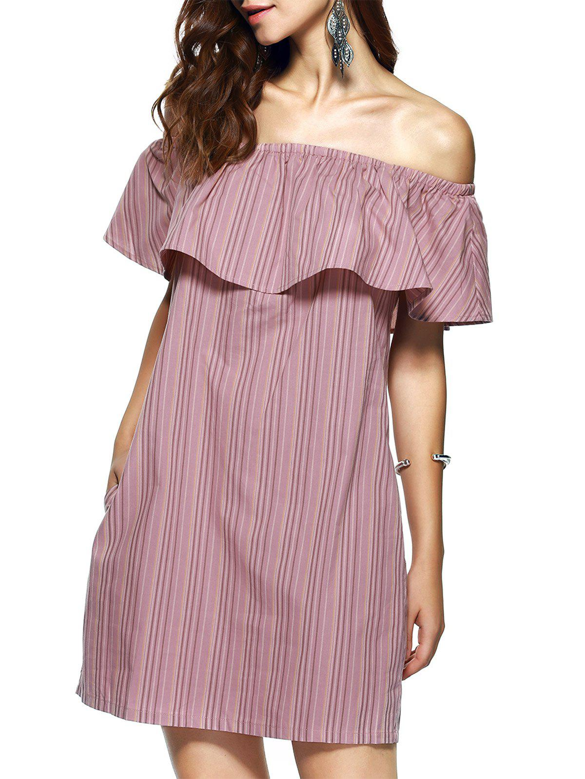 Elegant Women's Off-The-Shoulder Sleeveless Stripe Dress - STRIPE XL