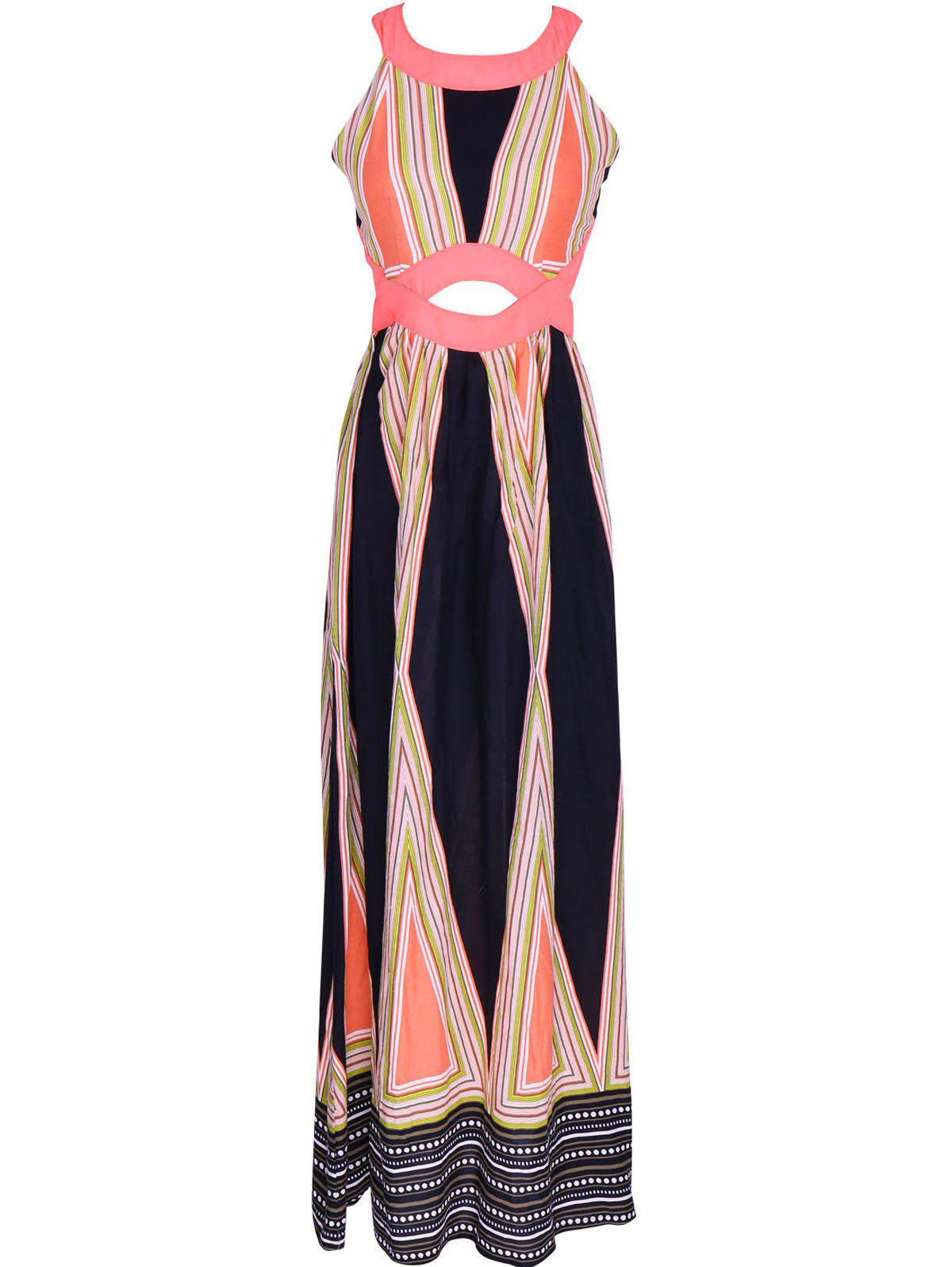 Attractive Women's Hollow Out Printed Maxi Dress - BLACK/PINK XL