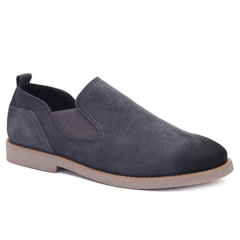 Concise Suede and Elastic Band Design Men's Casual Shoes - GRAY 44
