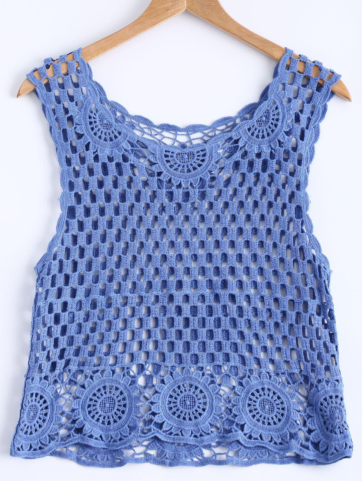 Stylish Women's Scoop Neck Crochet Openwork Tank Top - ROYAL BLUE ONE SIZE(FIT SIZE XS TO M)