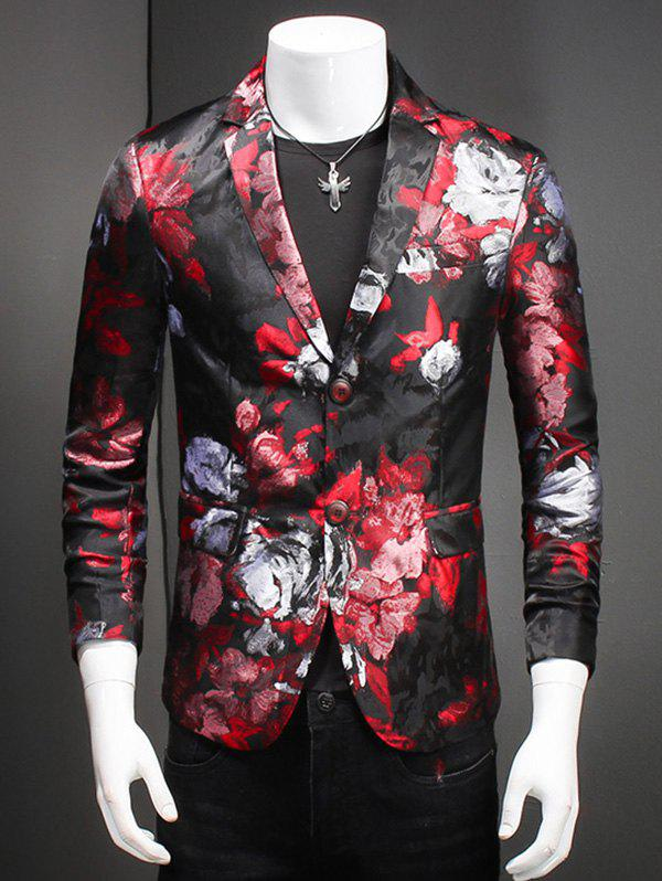 Fashion Flower Print Notched Lapel Collar Long Sleeves Blazer For Men - RED 4XL