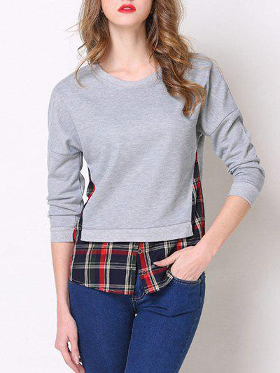 Chic Round Neck 3/4 Sleeve Plaid Spliced Women's T-Shirt