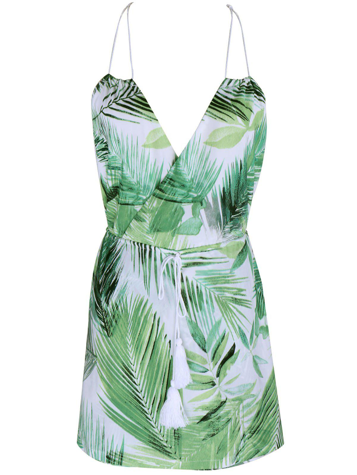 Tropical Halter Neck Leaf Romper For Women - GREEN M