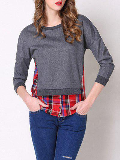 Chic Round Neck 3/4 Sleeve Plaid Spliced Womens T-ShirtWomen<br><br><br>Size: 2XL<br>Color: DEEP GRAY