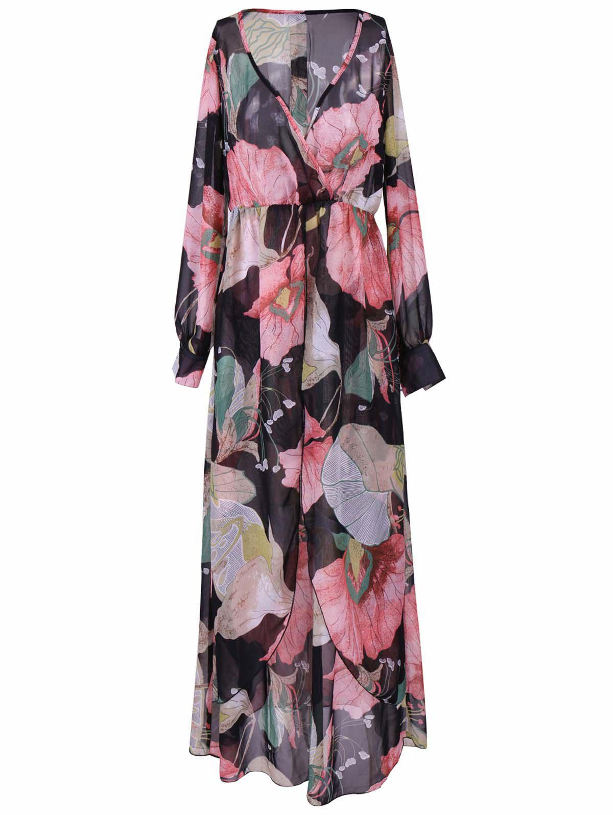 Bohemian Plunging Neck Floral Dress For Women - BLACK XL