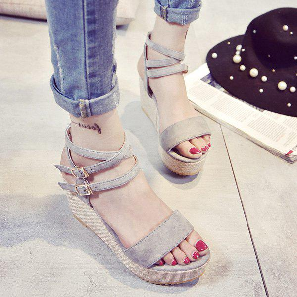 Fashionable Double Buckle and Wedge Heel Design Women's Sandals - LIGHT GRAY 39