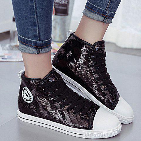 Stylish Tie Up and Sequined Design Women's Athletic Shoes - 38 BLACK