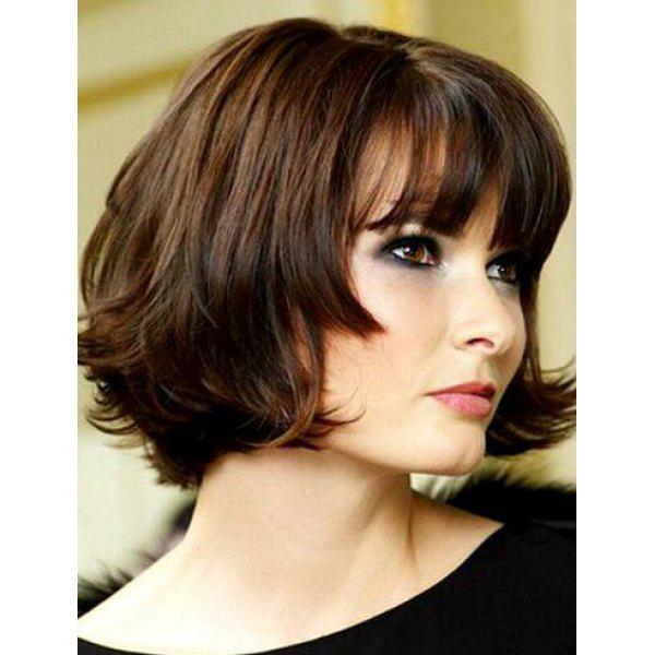 Fluffy Wave Bob Style Short Classic Dark Brown Synthetic Wig For Women