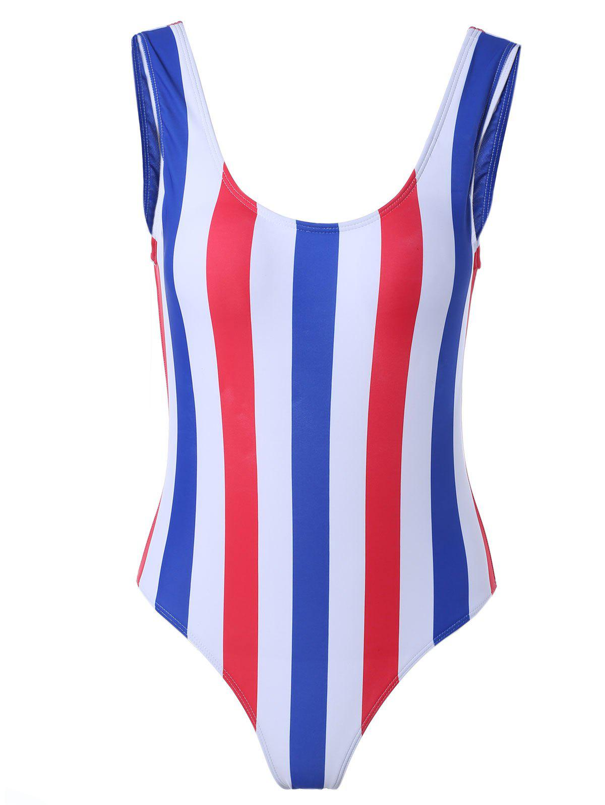 Alluring Striped Color Block One-Piece Swimsuit - COLORMIX XL