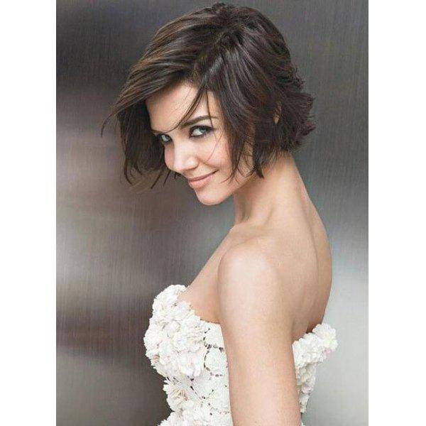 Trendy Short Brown Synthetic Fluffy Straight Women's Capless Wig