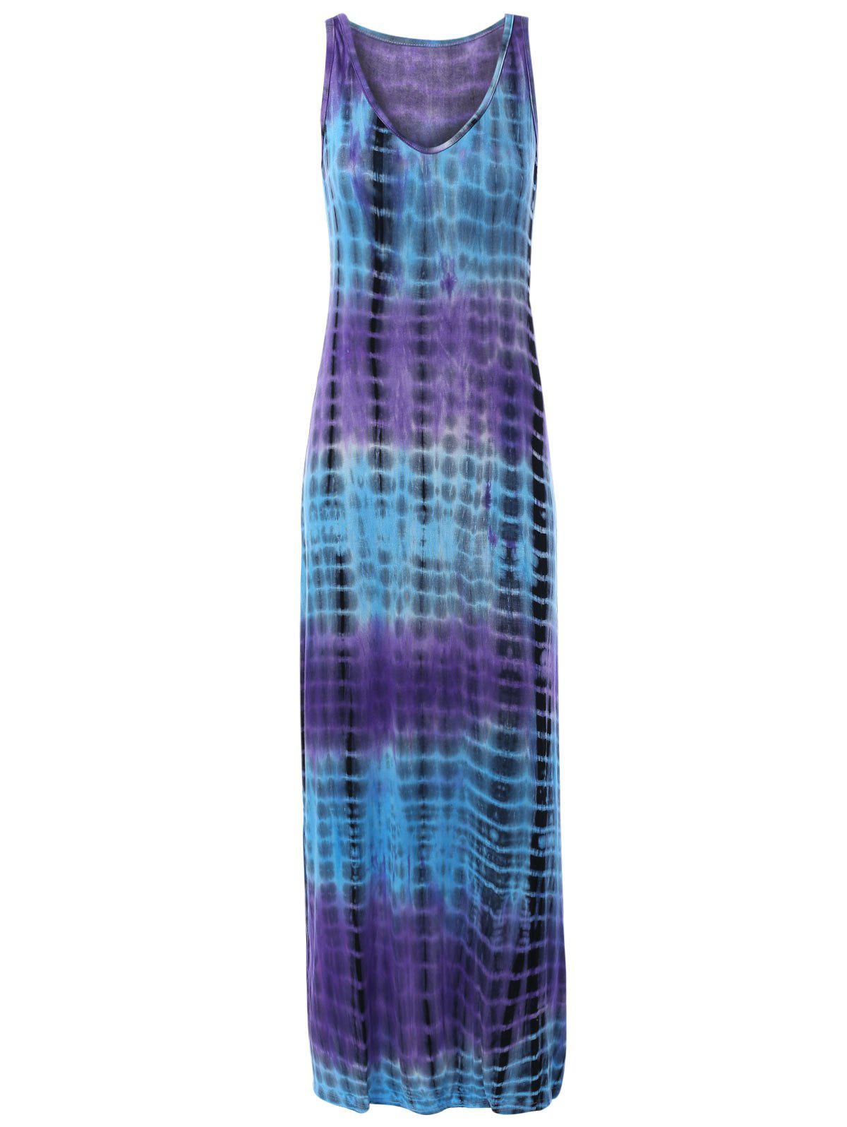 Sleeveless V-Neck Geometric Tie Dyed Women's Dress - COLORMIX ONE SIZE