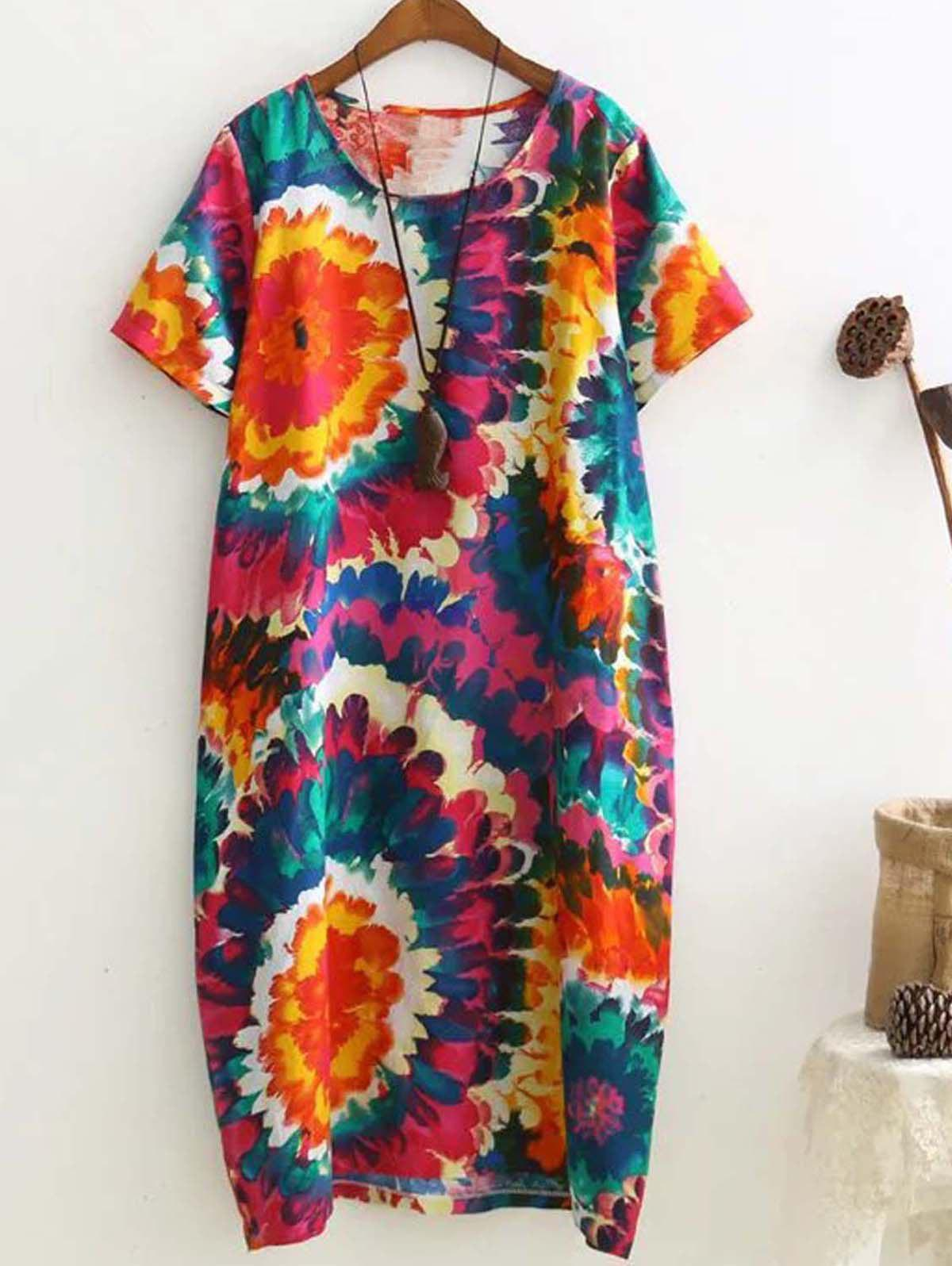 Retro Multicolor Printed Loose Short Sleeve Plus Size Dress - RED 2XL