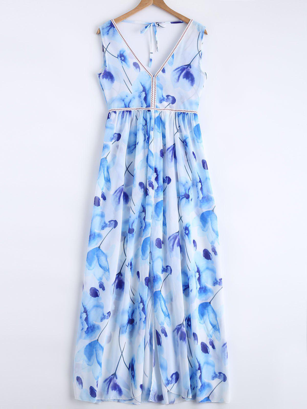 Sweet Backless Floral Dress For Women - LIGHT BLUE M