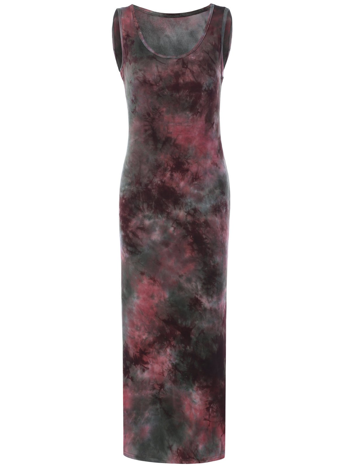 Tie-Dyed U-Neck Sleeveless Women's  Maxi Dress - COLORMIX ONE SIZE