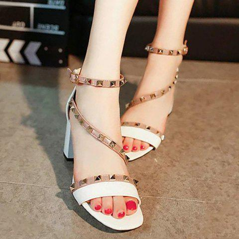 Fashionable Rivets and Color Splicing Design Women's Sandals - WHITE 38