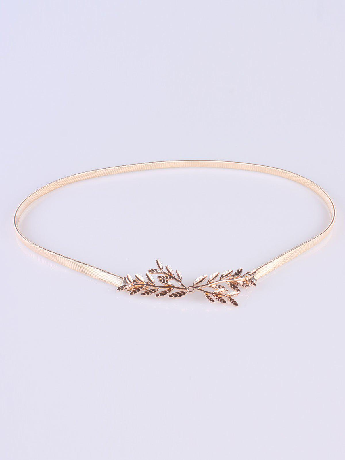 Chic Small Leaf Branch Elastic Waist Belt - GOLDEN