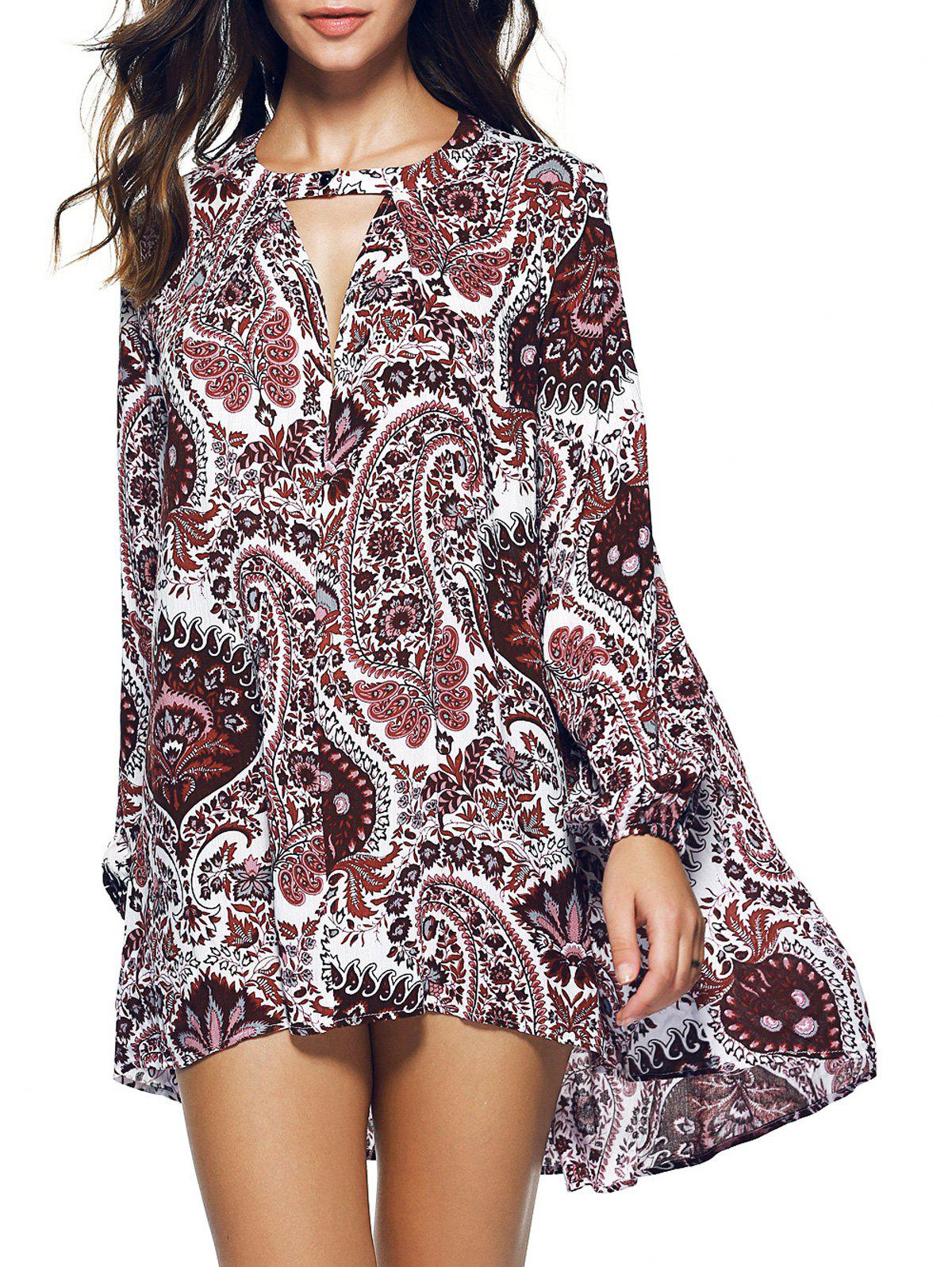 Paisley Long Sleeve Asymmetric Bohemian Dress - COLORMIX 2XL
