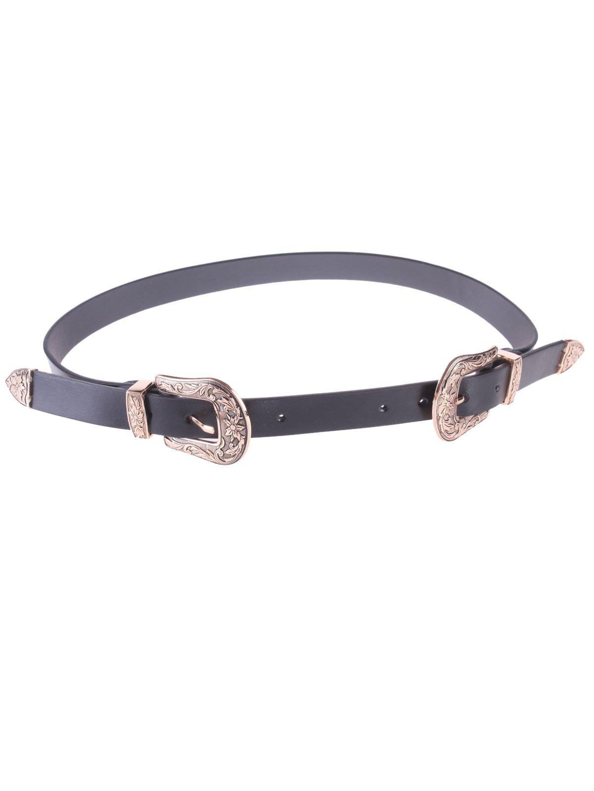 Chic Double Buckles Waist Belt - BLACK