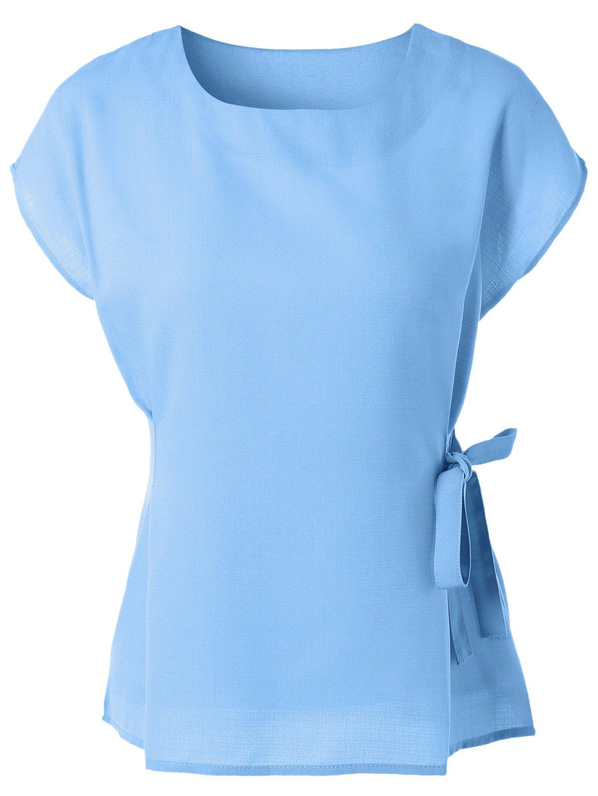 Cap Sleeve Candy Color Slimming Blouse - LIGHT BLUE XL