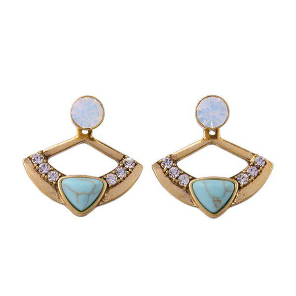 Pair of Retro Rhinestone Round Cut Out Fan Shape Triangle Faux Stone Ear Jacket For Women