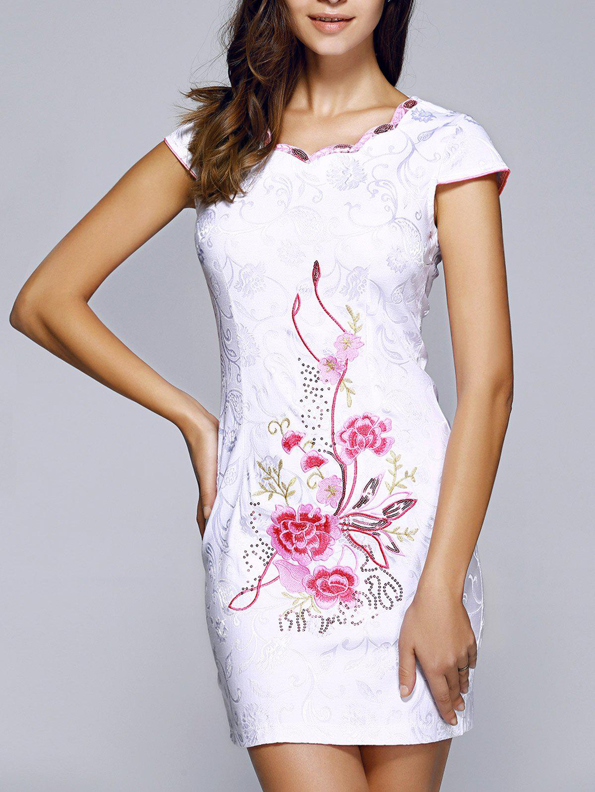 Retro Wavy Cut Jacquard Embroidered Dress For Women - LIGHT PINK 2XL