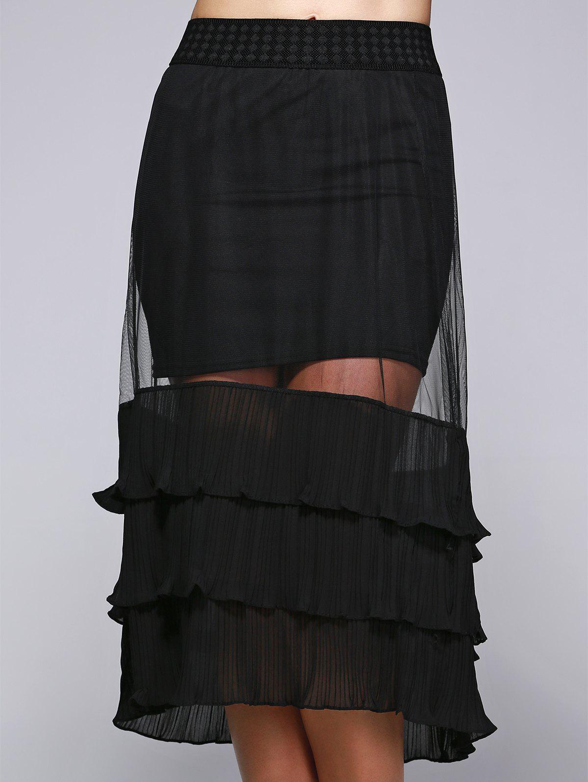 See-Through Convertible SkirtWomen<br><br><br>Size: ONE SIZE<br>Color: BLACK