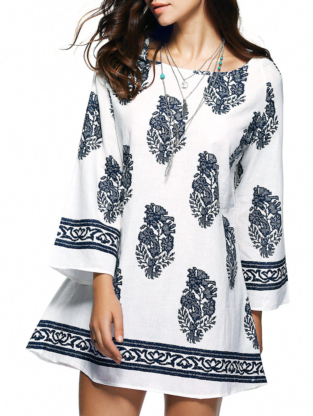 Bohemian Ethnic Floral Print Loose Mini Dress - WHITE 2XL