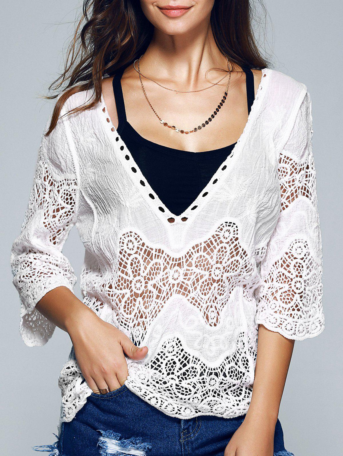 3/4 Sleeve Plunging Neck Crocheted Blouse - WHITE ONE SIZE