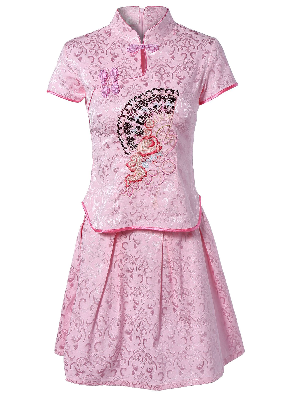 Chinoiserie Embroidered Top and Jacquard Skirt Set For Women - PINK L