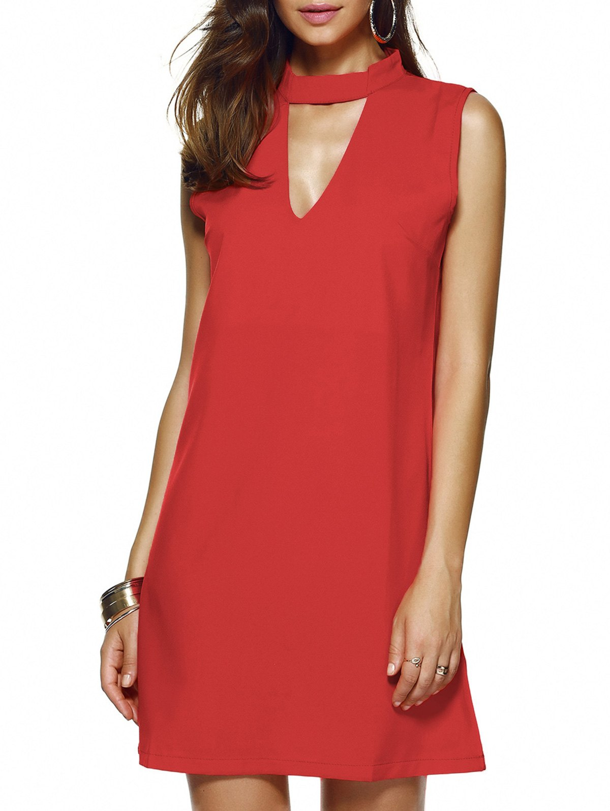 Stylish Women's Keyhole Neck Sleeveless Solid Color Dress - RED XL
