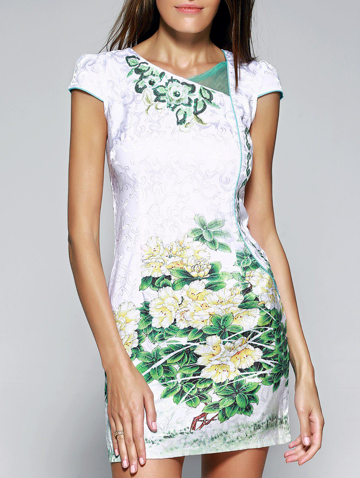 Vintage Style Floral Print Bodycon Cheongsam - GREEN L
