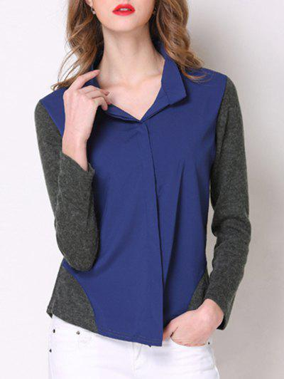 Chic Long Sleeve Hit Color Spliced Women's Shirt