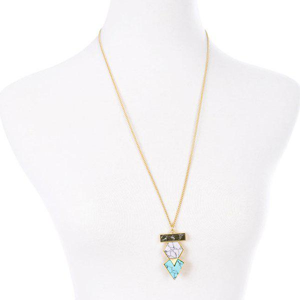 Fake Stone Triangle Rectangle Geometric Pendant Necklace - GOLDEN