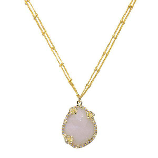Flower Gold Plated Faux Gemstone Pendant Necklace - GOLDEN