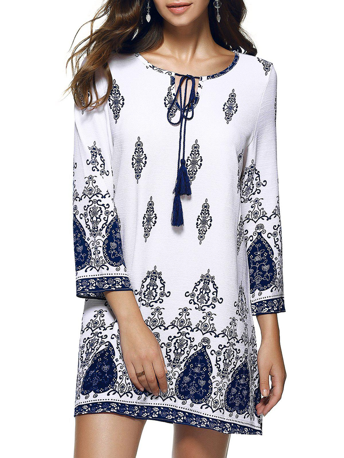 Bohemian Ethnic Floral Paisley Oversized Mini Dress - WHITE 2XL