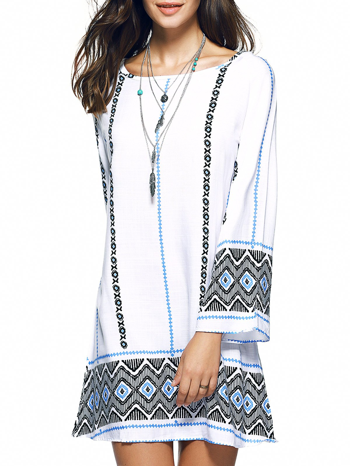 Bohemian Zigzag Rhombus Print Oversized Mini Dress - WHITE 2XL