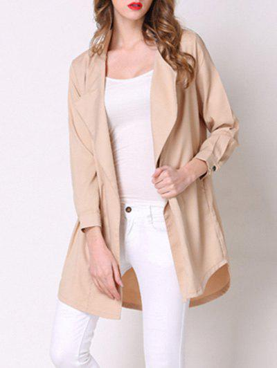 Chic Pocket Design Loose-Fitting Solid Color Women's Thin Coat - KHAKI 3XL