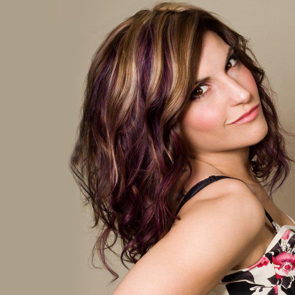 Shaggy Wave Long Fashion Blonde Mixed Purple Synthetic Wig For Women