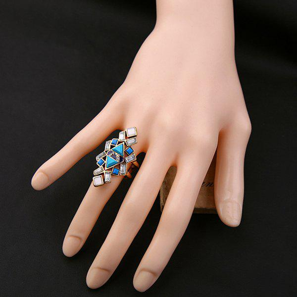 Hollow Out Triangle Square Rectangle Ring - LAKE BLUE