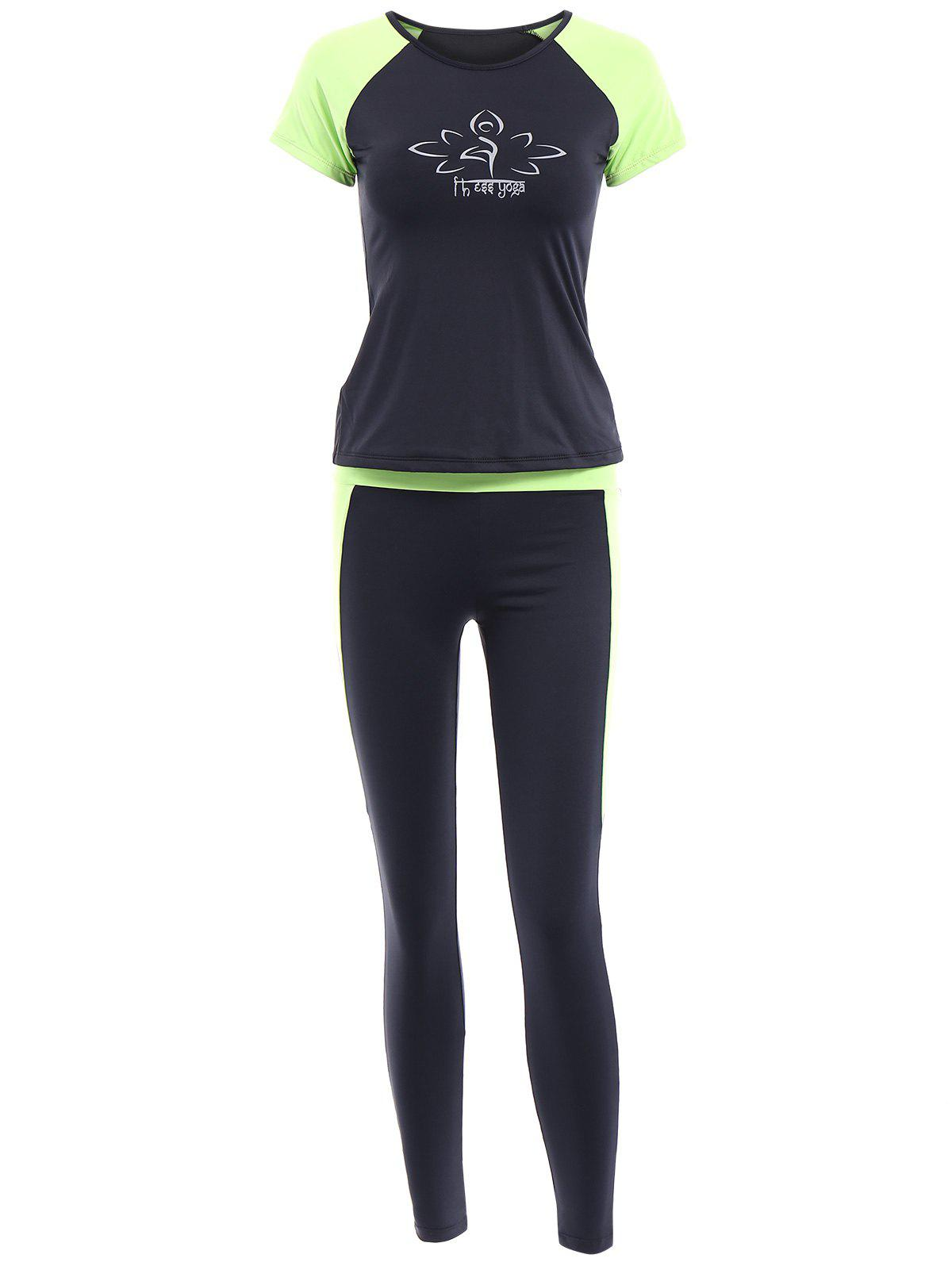 Sports Round Collar Short Sleeves Bodycon Printed Women's Activewear Suit