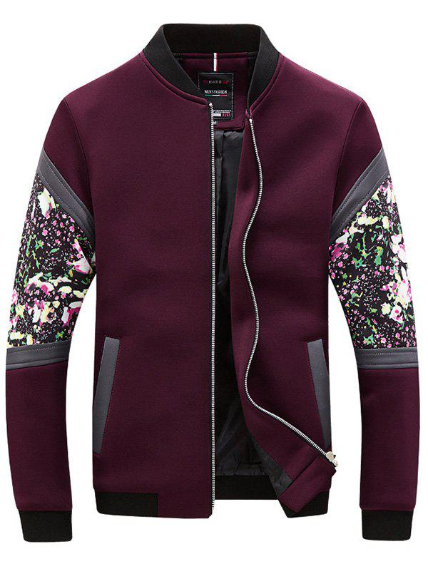 Buy Floral Splicing Zip-Up Jacket RED