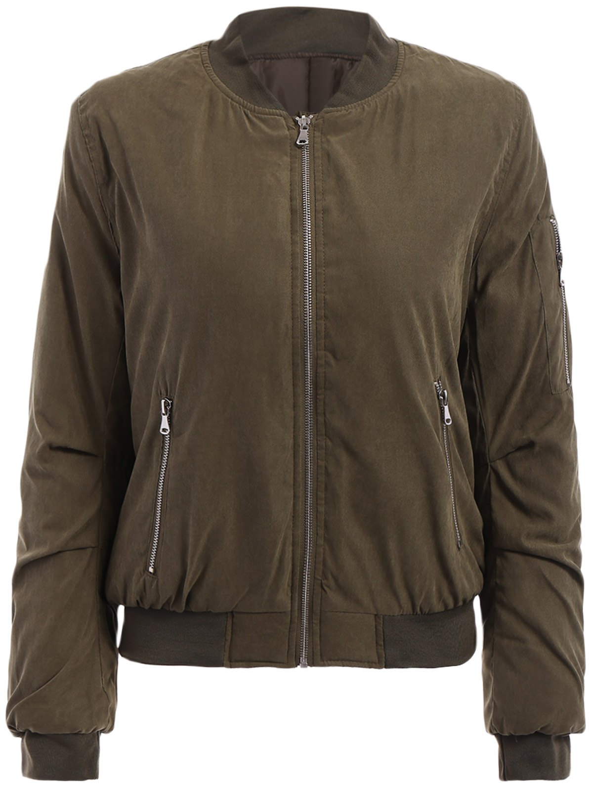 Stylish Long Sleeve Stand-Up Collar Zip Up Women's Jacket - ARMY GREEN M