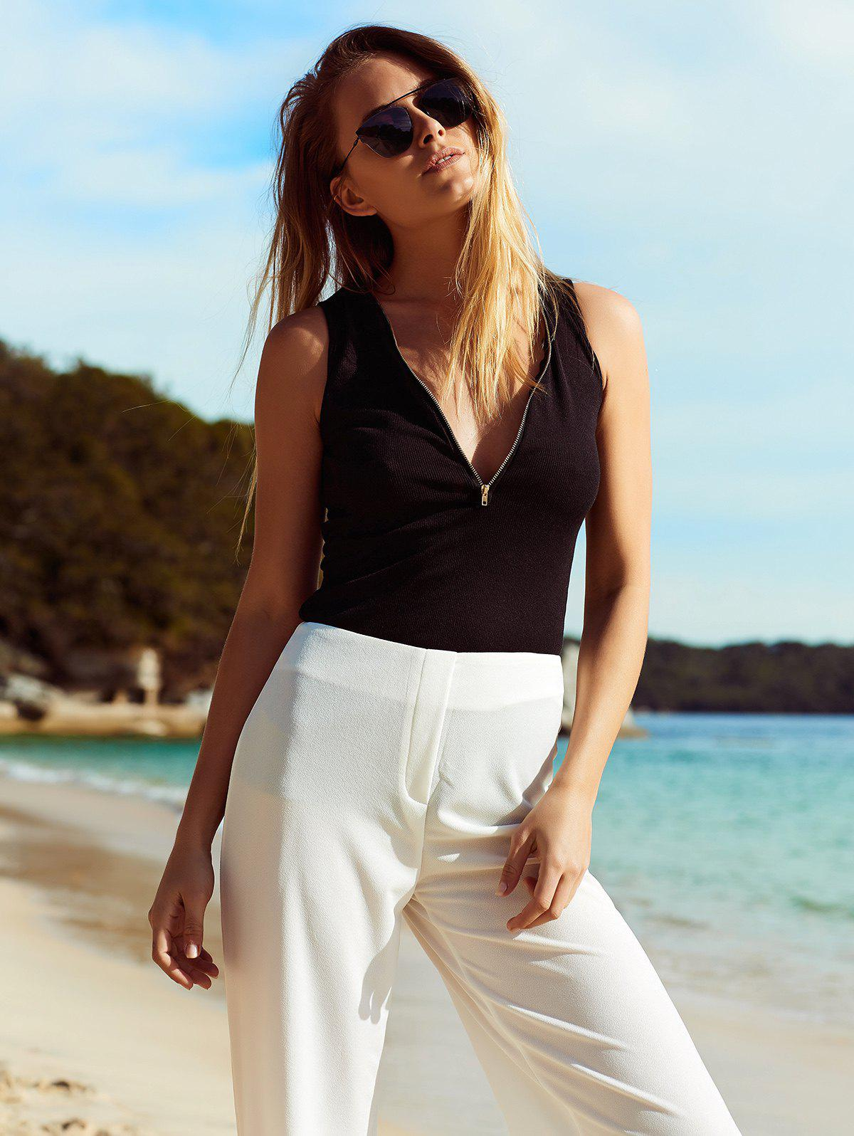 Chic Plunging Neck Solid Color Zipper Design Women's Tank Top