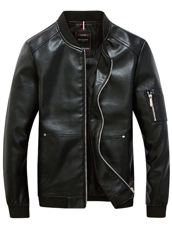 Rib Trim Zippered Men's Faux Leather Jacket - BLACK 5XL