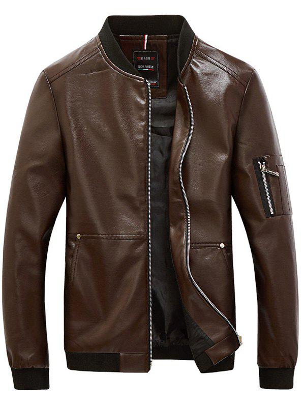 Rib Trim Zippered Men's Faux Leather Jacket - COFFEE L