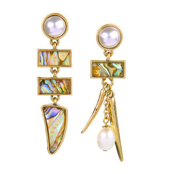 Pair of Faux Pearl Geometric Dangle Earrings - COLORMIX