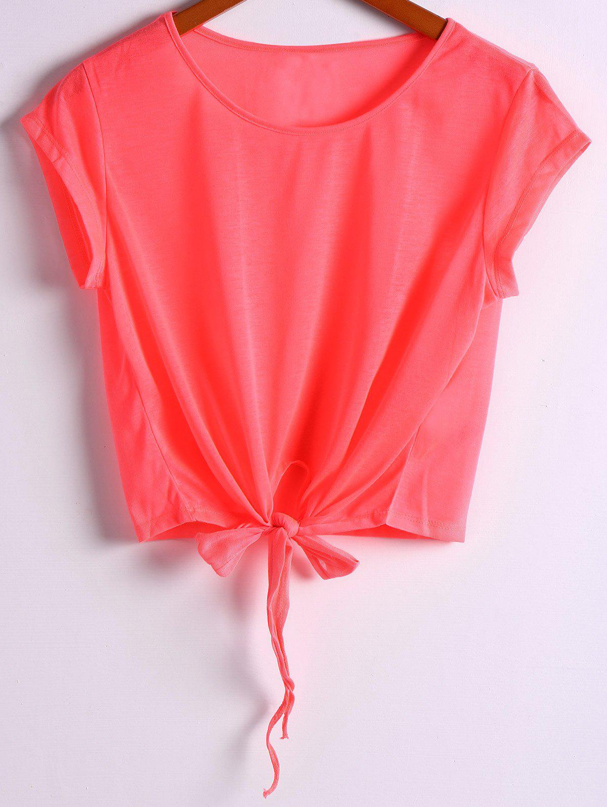 Active Scoop Neck Short Sleeve Candy Color Sport T-Shirt For Women - RED L