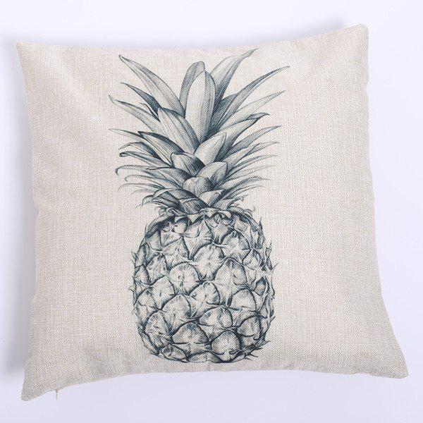 High Quality Sketch Pineapple Pattern Square Shape Pillow Case(Without Pillow Inner) - WHITE/BLACK