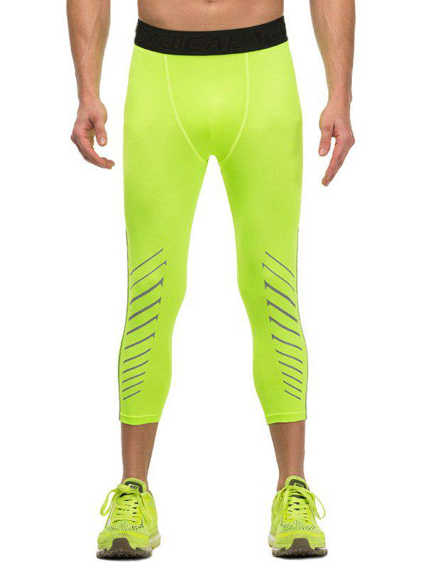 Fitted Quick-Dry Letter and Geometric Pattern Elastic Waist Men's Gym Capri Pants - NEON GREEN S